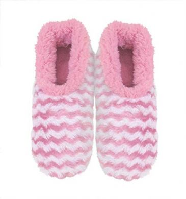 Ladies Pink Striped Rose Textured Fur-Like Snoozies Slippers